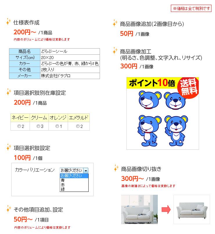 仕様表作成 項目選択肢別在庫設定 項目選択肢設定 商品画像追加(2画像目から) 商品画像加工(明るさ、色調整、文字入れ、リサイズ) 商品画像切り抜き その他項目追加、設定